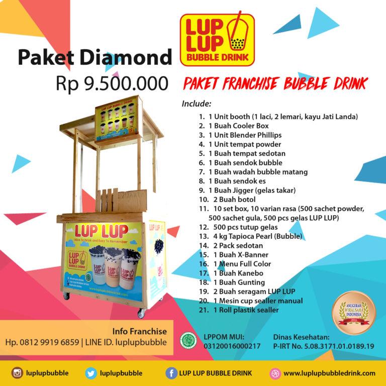 paket franchise diamond lup lup bubble drink waralaba minuman